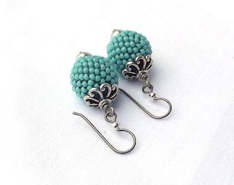 Fine Turquoise Beaded Bead earrings Minimalist  925 Sterling Silver French Hooks Modern Beadwork Jewelry