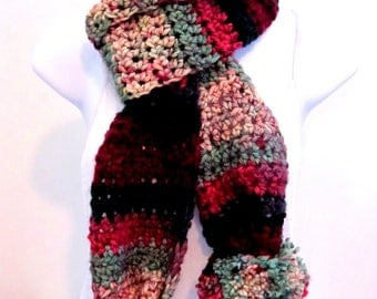Crocheted Holiday Scarf, Women's Crocheted Scarf, Pompom Scarf, Multicolored Holiday Scarf