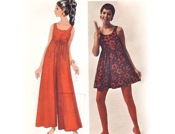 Vintage 60s Mary Quant Sewing Pattern - Mod Empire Babydoll Pantdress or Palazzo Pant Jumpsuit - Butterick Young Designer 4779, Bust 31.5