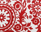 READY TO SHIP - Single 16 x 16 Red White Suzani Pillow Cover Christmas Pillow Cover