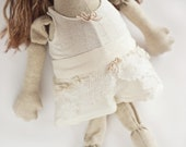 Beata. Tenderness textile doll - handmade art fabric doll.