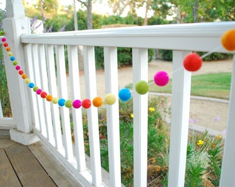 Neon Summer Fun Birthday Felt Ball Garland, Pom Pom Garland, Nursery Decor, Bunting Banner, Party Decor, Baby Shower