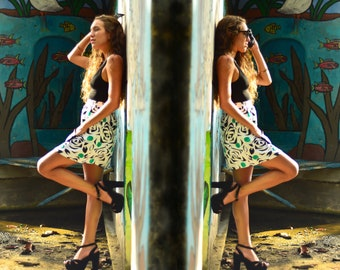 Vintage 80s Floral Print High Waisted Sheer Mini Skirt