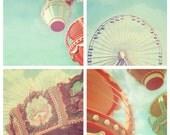 Carnival Photography SALE, Set of 4, carnival nursery decor, circus print, ferris wheel, carousel, shabby chic, aqua blue, cyan, fPOE