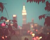 New York City Photograph, NYC, Manhattan skyline, Mad Men, cityscape, city lights, urban decor, blue gray, teal, modern decor, fPOE