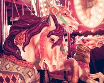 Carnival photography, carousel horse, merry-go-round, nursery decor, circus print, nursery wall art, pastel colors, dreamy, children's room