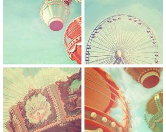 Carnival Print, Set of 4, carnival nursery decor, circus print, ferris wheel, carousel, shabby chic, aqua blue, cyan