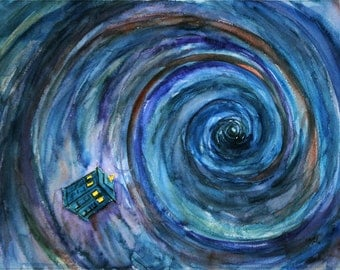 Doctor Who TARDIS in the Vortex Fine Art Print of my original illustration