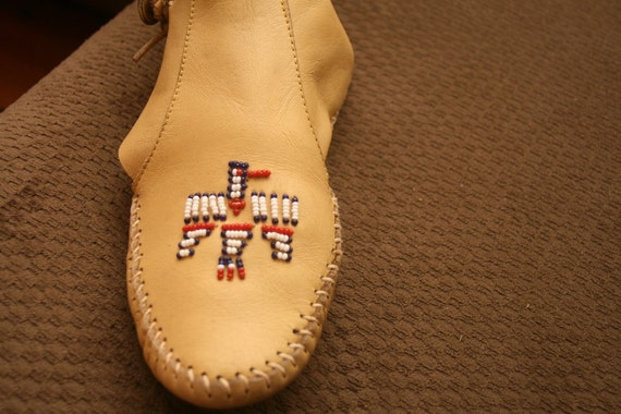 OOAK Lovely Leather Handmade and Beaded Ankle Mocassins