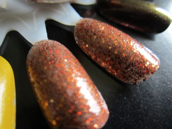 Sparkly Brown and Gold Shimmer Nail Polish- Grind it Up