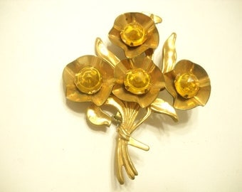 Vintage Bright AMBER CRYSTAL BROOCH (1657)