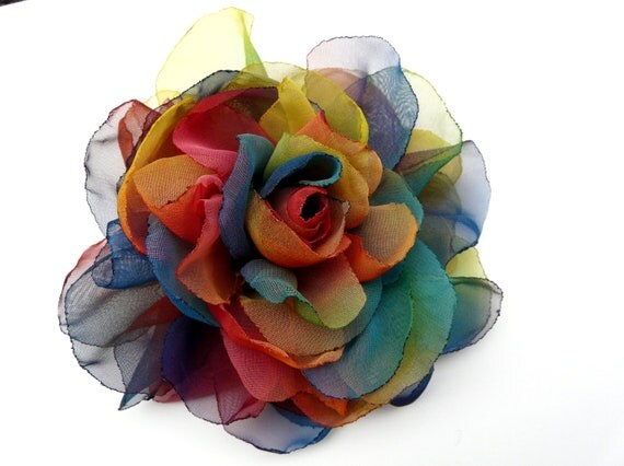Huge Rainbow Hair Flower, Hippie Hair Accessory, Hippie Hair Clip, Multicolored Flower Brooch Prom