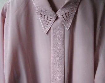 Oversized Blush, Lace Collared Blouse