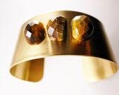 Vintage OOAK Tiger's Eye Brass Cuff - Urban Bohemian Brass Bracelet, Gift for her, Gift Under USD50