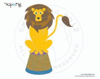 Lion applique template - pdf applique pattern - vintage inspired retro circus design