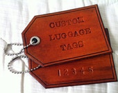Set of 2 Custom Personalized Leather Luggage Tags: 2 tags, Personalized Gift