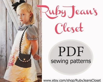 Uptown Girl - Girl's A-Line Dress Pattern PDF. Sewing Pattern for Girls.  Sizes 1-10 included