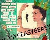 Original collage Humor Mature Sarcastic quote Work of Canvas Art Queen Lady God Created Men