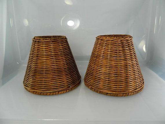 Vintage Wicker Lamp Shades Natural Wicker 1 Pair