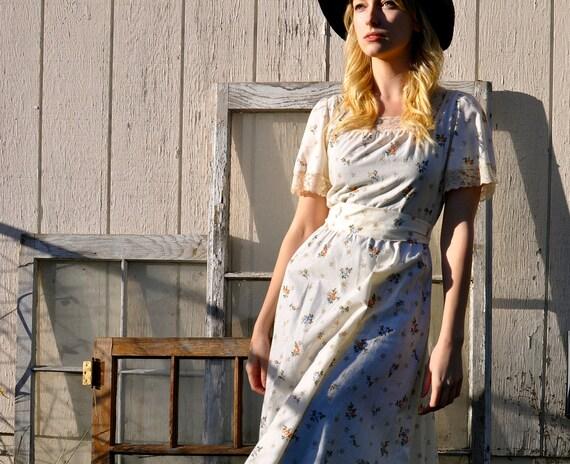Vintage Jonathan Logan Cream Floral Dress 6/8 Medium