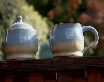 Tan and Blue Cream and Sugar Set - Stoneware Pottery, hand thrown