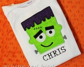 Personalized Halloween Frankenstein Monster Appliqued Tee Shirt or Onesie