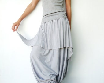 NO.86 Dusty Grey Cotton Jersey Cool Unique Asymmetric Casual Loose Novelty Harem Pants, Trendy Unusual Trousers