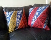 FREE Inner Pads -  SET of 2 patchwork style 18 inches square CUSHION with best quality soft touch african wax print in 4 different colours