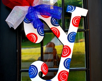 Patriotic Door Hanger, Initial, 4th of July Wreath, 29 INCHES TALL, Any Initials