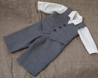 Ring bearer outfit Baby boy linen suit Boy baptism clothes First birthday formal wear Baby boy rustic wedding outfit Boy gray vest pants