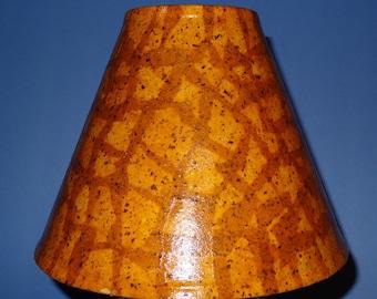 Honey Mustard Lampshade - Small/Medium Decoupage Shade using Handmade Mustard Colored Paper with Brown Specs