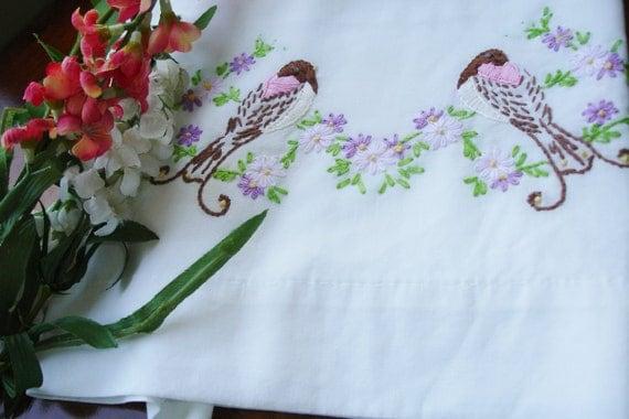 Pillowcase hand embroidered Song Birds Lovely Single circa 1960s