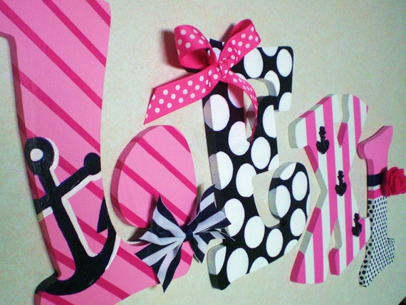 Hand Painted Personalized Wooden Letters Pink Navy By