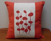 Handprinted Cushion Cover - red/orange and offwhite with red/orange design