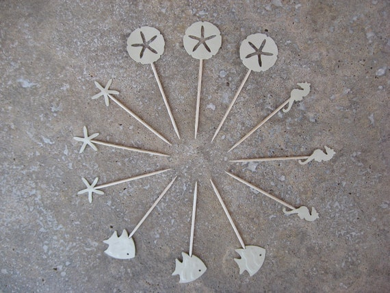 12 Party Picks Cupcake Toppers Sand Dollars, Seahorse, Fish, and Starfish Picks