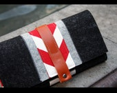 Merino wool felt Iphone trifold wallet - grey combination and red chevron accent
