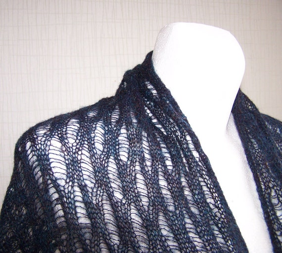 SALE 30% OFF Dark Blue Woman Mohair Shawl, scarf, nice Christmas gift ready to ship
