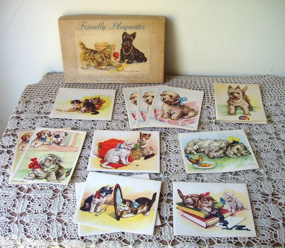 vintage folded notes puppies & kittens c1950s