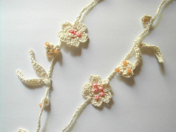 White cotton crochet lariat necklace with beads