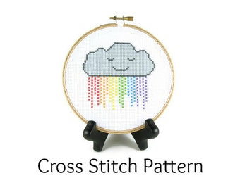Rainbow Rain Cloud Counted Cross Stitch Pattern
