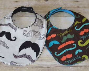 Set of Two Mustache Baby Bibs