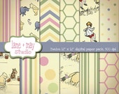digital scrapbook papers - classic winnie the pooh theme - INSTANT DOWNLOAD