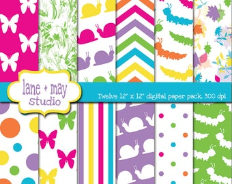 digital scrapbook papers - rainbow snail, catepillar and butterfly patterns - INSTANT DOWNLOAD
