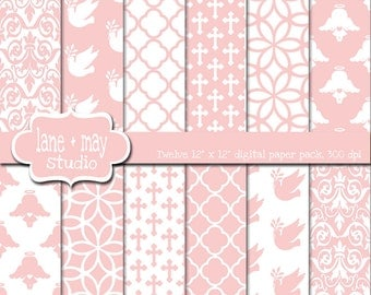 digital scrapbook papers - baby pink baptism - INSTANT DOWNLOAD