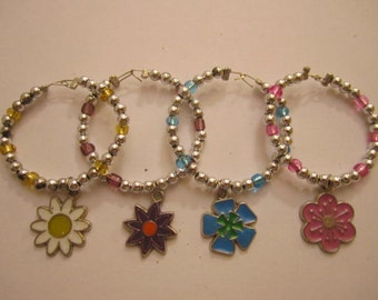 Flower Wine Charms