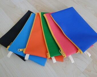 Large NEON PVC zipper pencil case, cosmetic bag, snack bag, zipper pouch,  rectangle shaped, waterproof -  NEON