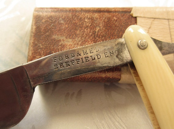 Vintage Straight Razor by Ford and Medely and H. Boker Case