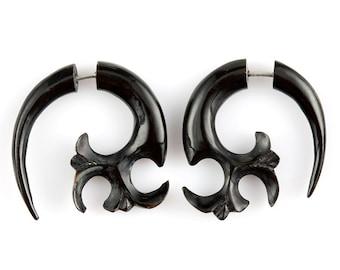 "Fake Gauge Earrings-Tribal Earrings Fake Piercing-Buffalo Horn Fake Gauges ""Atomic Fleur de Lis"" earrings-No Holes Barred Tribal earrings"