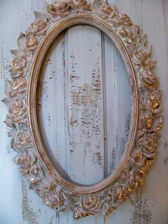 Large Ornate Frame Vintage Shabby Chic Oval Distressed Pink