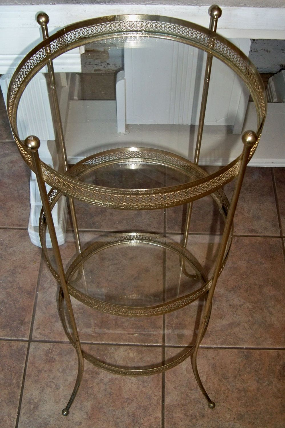 Round Table Metal Filigree And Glass 3 Tiered Accent Piece